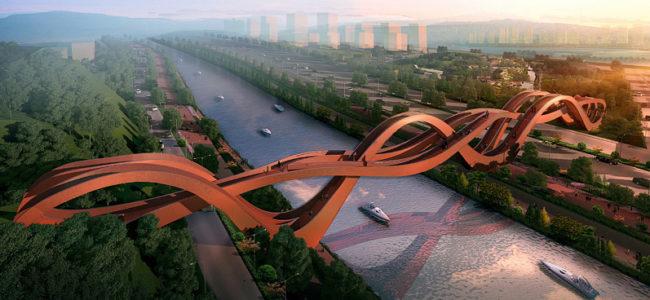 Холандци построиха мост като възел в Китай